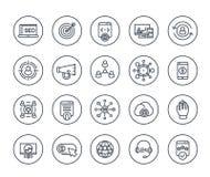 Seo, digitale marketing de lijnpictogrammen van de websiteanalyse royalty-vrije illustratie