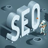 SEO Discovery. Like the First Moon Landing. 3D Flat Isometric Vector Concept Royalty Free Stock Images