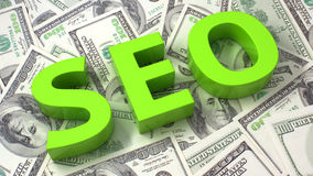 SEO on the dollar background Stock Photography