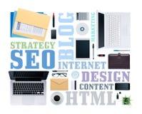 Seo e conceitos copywriting Imagem de Stock Royalty Free