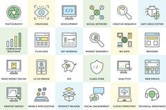Seo e iconos 1 del vector del desarrollo Fotografía de archivo