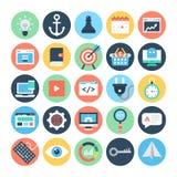SEO e iconos 1 del vector del márketing Foto de archivo libre de regalías