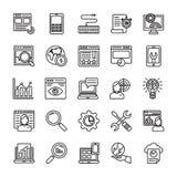 SEO e linea icone 1 di ottimizzazione di web illustrazione vettoriale
