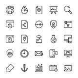 Seo e linea insieme di web delle icone illustrazione di stock