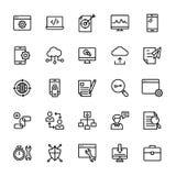 Seo e a linha ícones da Web embalam ilustração do vetor