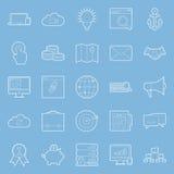 Seo and e-marketing thin lines icon set Stock Photo
