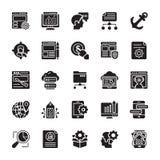 SEO ed icone 3 di glifo di ottimizzazione di web illustrazione vettoriale