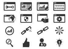 SEO ed icone di sviluppo messe Fotografia Stock Libera da Diritti