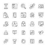 Seo ed icone di vettore di scarabocchio di vendita illustrazione di stock