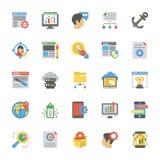 SEO ed icone piane di ottimizzazione di web royalty illustrazione gratis