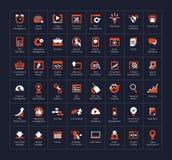 SEO ed insieme dell'icona di sviluppo Fotografia Stock Libera da Diritti