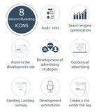 Seo en Internet-marketing pictogramreeks Royalty-vrije Stock Foto's