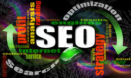 SEO engines strategy. Seo - search engine optimization web, word cloud and mouse Stock Images