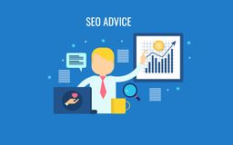 Seo service, consultancy, expert sharing seo advice, search engine optimization, blogging, concept. Flat design vector banner. Seo expert giving advice about royalty free illustration