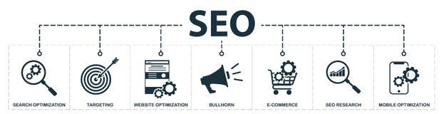 Seo fijó la colección de los iconos Incluye los elementos simples tales como optimización de la búsqueda, palabras claves, megáfo stock de ilustración