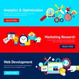 SEO flat banner set. With analytics and optimization marketing research web development isolated vector illustration Stock Images