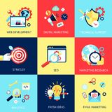 SEO flat concept set Stock Photography