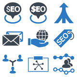 Seo Flat Glyph Icons. Seo glyph icons. Icon style is bicolor smooth blue flat symbols with rounded angles on a white background Stock Photos