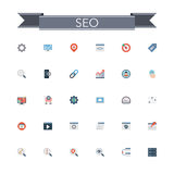 SEO Flat Icons Royalty Free Stock Photos