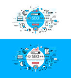 SEO. Flat linear hero images and hero banners design concept Stock Photography