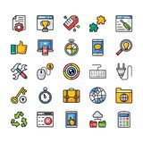 Seo Flat Vector Icons Set royalty illustrazione gratis