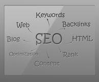 SEO flow chart. On glass shield Royalty Free Stock Image