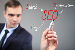 SEO flow chart written by executive as a background Stock Photography