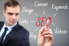 SEO flow chart written by executive as a background Stock Photo