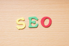 SEO in foam rubber letters Royalty Free Stock Photos
