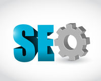 Seo gear text sign illustration design Royalty Free Stock Photo