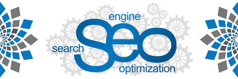 Seo With Gears Abstract Element Ilustração Royalty Free