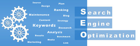 Seo With Gears and Keywords Royalty Free Stock Photography