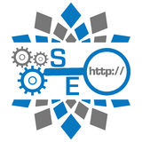 SEO With Gears Magnifying Glass-Blau Grey Circular Stockbild