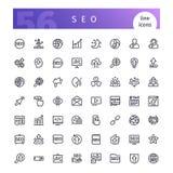 SEO-geplaatste lijnpictogrammen Royalty-vrije Stock Foto's