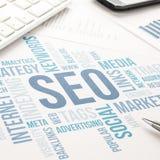 Seo-Geschäftskonzeptwolkendiagramm-Druckdokument Stockbild