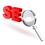 SEO_glass. An illustration representing global search engine optimization Royalty Free Stock Image