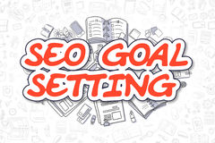 SEO Goal Setting - griffonnage Word rouge Concept d'affaires Photo stock