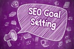 SEO Goal Setting - illustration de griffonnage sur le tableau pourpre Photo libre de droits