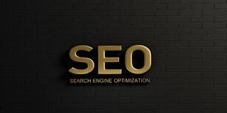 SEO Gold Word in Zwarte Bakstenen muur 3d teruggevende illustratie Stock Fotografie