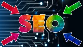 Seo Graphic 007 - Ready Graphic. Colorful Text with Colorful Background royalty free illustration