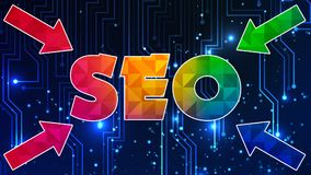 Seo Graphic 003 - Ready Graphic. Colorful Text with Colorful Background stock illustration