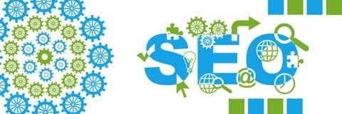 SEO Green Blue Circular Gears Horizontal Stock Image