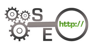 SEO Green Grey Gears Magnifying Glass Stock Images