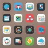 SEO & grupo do ícone da base de dados Foto de Stock