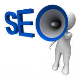 Seo Hailer Shows Search Engine Optimization Royalty Free Stock Photos