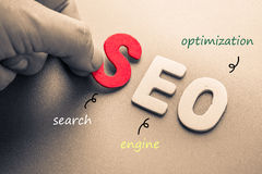 SEO. Hand arrange wood letters as SEO abbreviation (Search Engine Optimization Stock Photography