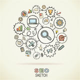 SEO hand draw connected sketch icons Stock Images