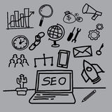 SEO hand-drawn style. Search results engine optimization, SEO, hand-drawn style,drawing,hand drawn, illustration Stock Photography