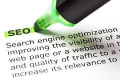 'SEO' highlighted in green. With felt tip pen Royalty Free Stock Image