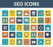 Seo i Internetowe Marketingowe ikony Ustawiający Obrazy Stock